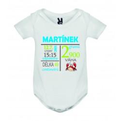 Dětské bodyčko - Informace o narození miminka