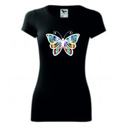 Dámské tričko - Motýl barevný