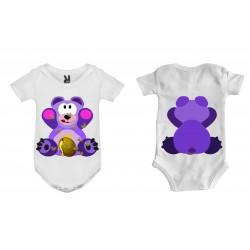 Dětské body - Méďa fialka oboustranný