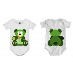 Dětské body - Méďa zelenka oboustranný