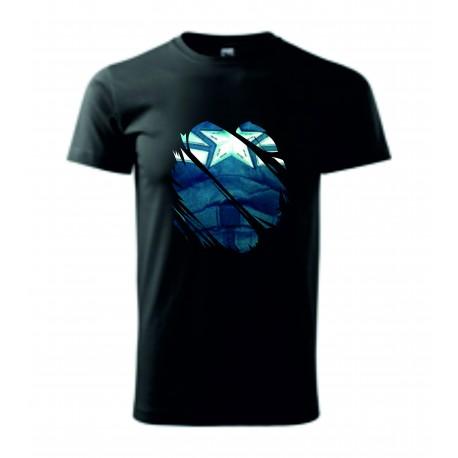 Pánské tričko - Modrá hruď - imitace roztrhání